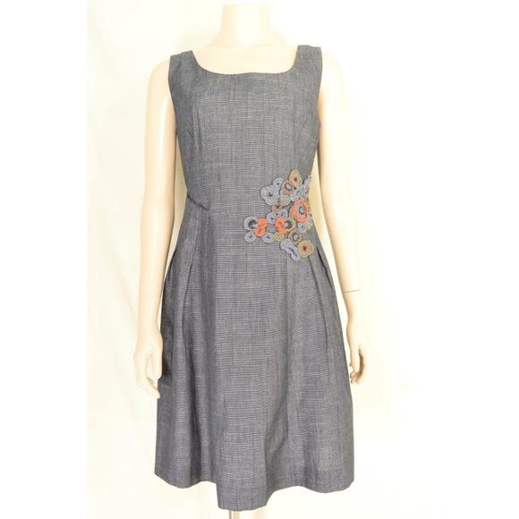 Tabitha Dresses & Skirts - Tabitha dress 10 gray small checks applique embroi